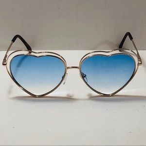 5ffa02f7a8c Accessories - Blue Lens Double Frame Heart Sunglasses